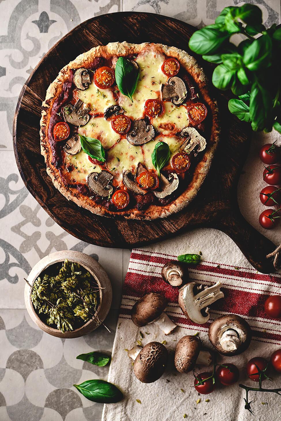 Pizza Caseira com Cogumelos